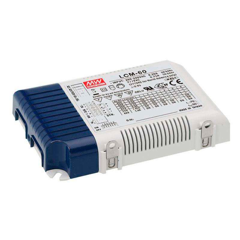 LED Driver MEAN WELL Ajustable LCM-60, 0-10V, PWM, Regulable